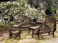 bent willow patio furniture - stone patio