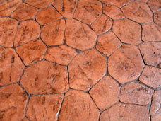 stamped concrete patio surface