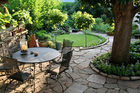 metal patio furniture on a stone patio